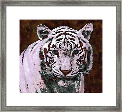 Popart White Tiger- Larger Framed Print by Jane Schnetlage