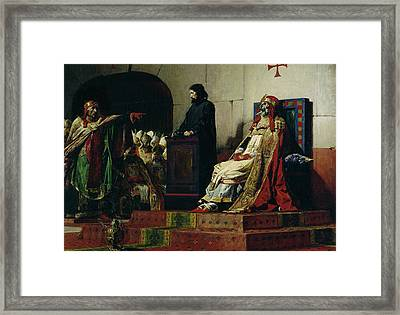 Pope Formosus And Pope Stephen Vi Framed Print by Jean Paul Laurens