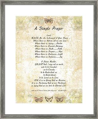 Pope Francis St. Francis Simple Prayer Butterflies Framed Print by Desiderata Gallery