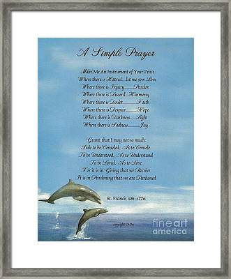 Pope Francis St. Francis Simple Prayer Dance Of The Dolphins Framed Print by Desiderata Gallery