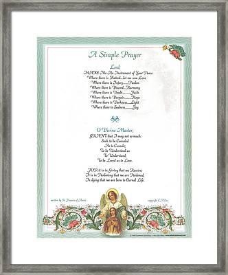 Pope Francis St. Francis Simple Prayer Florentine Angel Framed Print by Desiderata Gallery