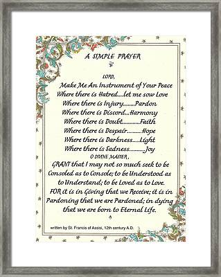 Pope Francis St. Francis Simple Prayer Framed Print by Desiderata Gallery