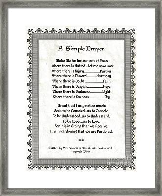 Pope Francis St. Francis Simple Prayer Peace On Parchment Framed Print by Desiderata Gallery