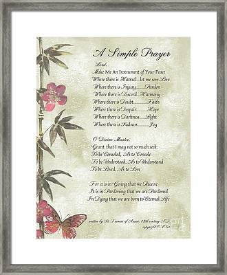 Pope Francis St. Francis Simple Prayerbutterfly On Bamboo Framed Print by Desiderata Gallery