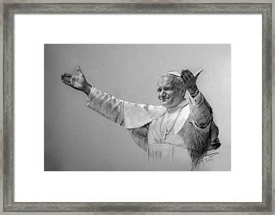 Pope John Paul II Bw Framed Print by Ylli Haruni