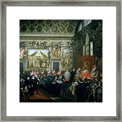 Pope Paul V 1522-1621 With An Audience, 1620 Oil On Canvas Framed Print by Pietro da Cortona