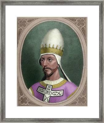 Pope Saint Gregory Vii (c Framed Print by Prisma Archivo