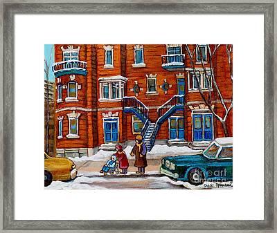 Poplinger Building Montreal Winter Scene Framed Print by Carole Spandau