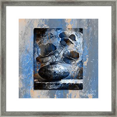 Poppies 02 - Style Blue Peach Framed Print by Emerico Imre Toth