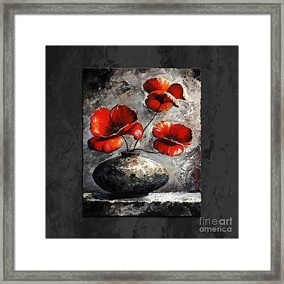 Poppies 02 - Style Black White And Red Framed Print by Emerico Imre Toth