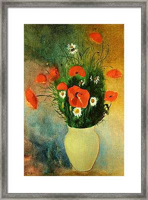 Poppies And Daisies Framed Print by Odilon Redon