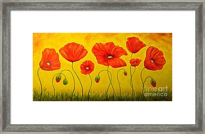 Poppies At The Time Of Framed Print by Veikko Suikkanen