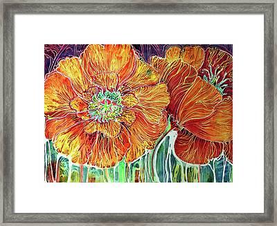Poppies Batik Abstract Framed Print by Marcia Baldwin