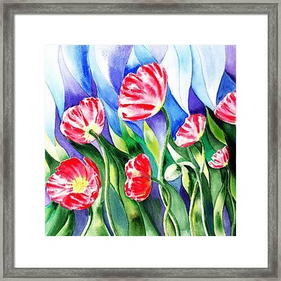 Poppies Field Square Quilt  Framed Print by Irina Sztukowski