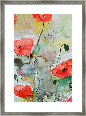 Poppies - Flower Painting Framed Print by Ismeta Gruenwald