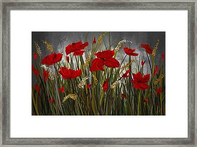 Poppies Galore - Poppies At Night Painting Framed Print by Lourry Legarde