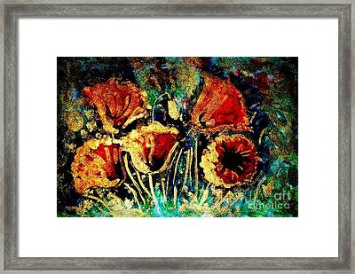 Poppies In Gold Framed Print by Zaira Dzhaubaeva