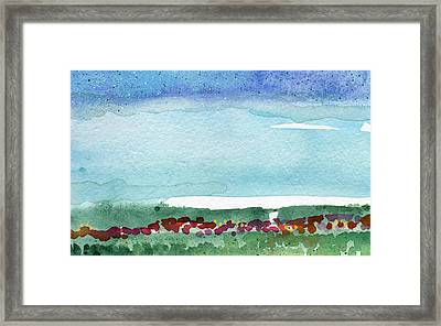 Poppy Field- Landscape Painting Framed Print by Linda Woods