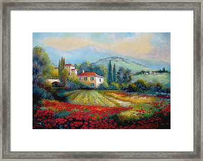Poppy Fields Of Italy Framed Print by Regina Femrite
