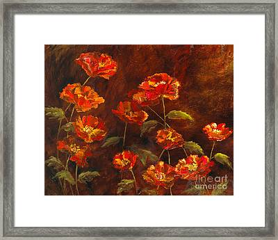 Poppy Garden With Gold Leaf By Vic Mastis Framed Print by Vic  Mastis