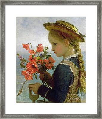 Poppy Girl Framed Print by Karl Wilhelm Friedrich Bauerle