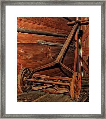 Pop's Old Mower Framed Print by Michael Pickett