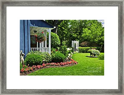 Porch And Garden Framed Print by Elena Elisseeva