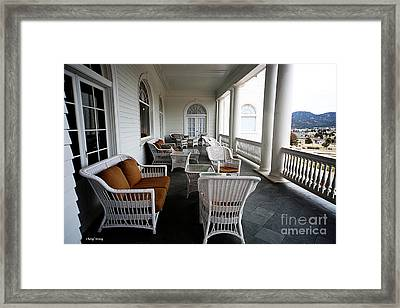 Porch At The Stanley Framed Print by Cheryl Young