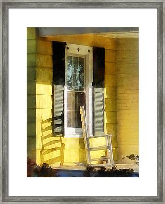 Porch - Long Afternoon Shadow Of Rocking Chair Framed Print by Susan Savad