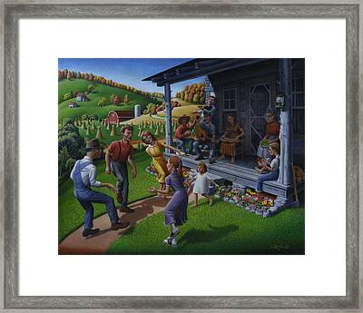 Porch Music And Flatfoot Dancing - Mountain Music - Appalachian Traditions - Appalachia Farm Framed Print by Walt Curlee