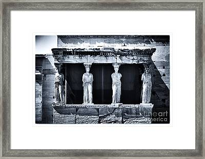 Porch Of The Caryatids Framed Print by John Rizzuto