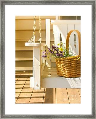 Porch Swing With Flowers Framed Print by Diane Diederich