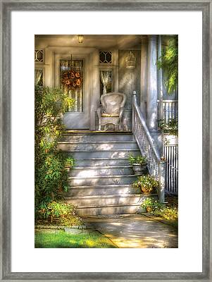 Porch - Westfield Nj - Grannies Porch  Framed Print by Mike Savad