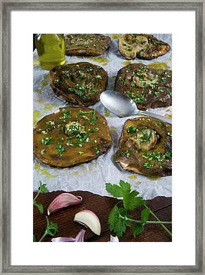Porcini (ceps) Mushrooms Au Gratin Framed Print by Nico Tondini