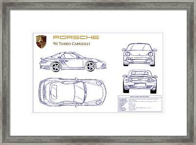 Porsche 911 Turbo Blueprint Framed Print by Jon Neidert