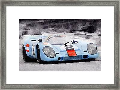 Porsche 917 Gulf Watercolor Framed Print by Naxart Studio