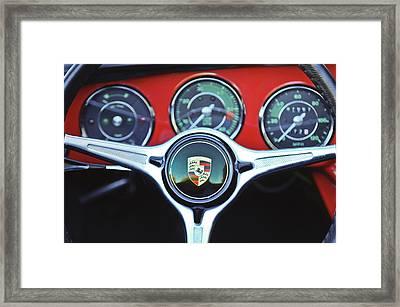 Porsche C Steering Wheel Emblem -1227c Framed Print by Jill Reger