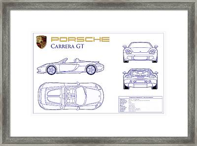 Porsche Carrera Gt Blueprint Framed Print by Jon Neidert