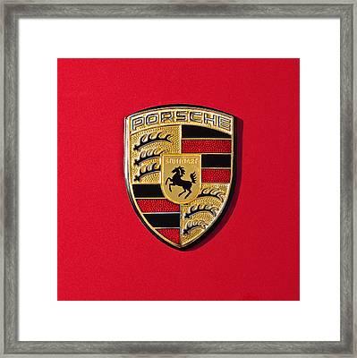 Porsche Emblem -0057cold Framed Print by Jill Reger