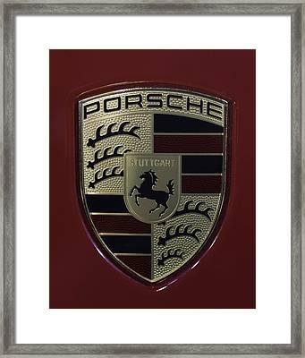 Porsche Emblem Framed Print by Sebastian Musial