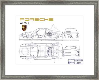Porsche Gt 904 Blueprint Framed Print by Jon Neidert