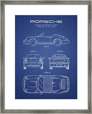 Porsche Patent From 1990 - Blueprint Framed Print by Aged Pixel