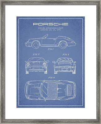 Porsche Patent From 1990 - Light Blue Framed Print by Aged Pixel