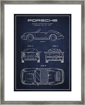 Porsche Patent From 1990 - Navy Blue Framed Print by Aged Pixel