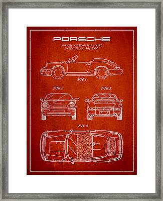 Porsche Patent From 1990 - Red Framed Print by Aged Pixel