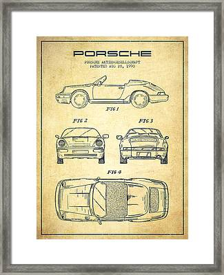 Porsche Patent From 1990 - Vintage Framed Print by Aged Pixel