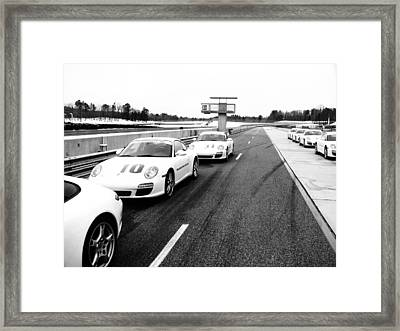 Porsche Pit Lane Framed Print by Jeff Taylor