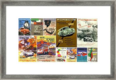 Porsche Racing Posters Collage Framed Print by Don Struke