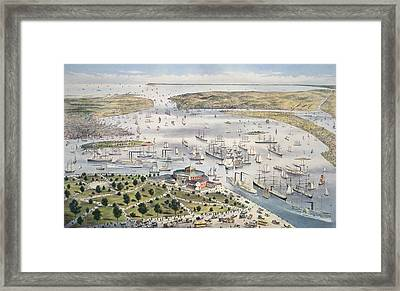 Port Of New York, Looking South Framed Print by Currier and Ives