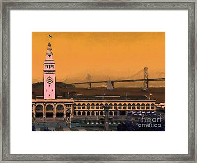 Port Of San Francisco Ferry Building On The Embarcadero - Painterly - V1 Framed Print by Wingsdomain Art and Photography